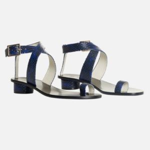 Tibi Hanson snake print ankle strap sandals, blue